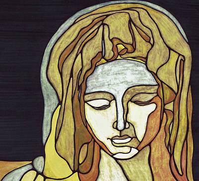 Beige Glass Drawing - Pieta by Christie Ross