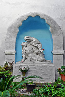 Blessed Virgin Photograph - Pieta Garden Mission Diego De Alcala by Christine Till