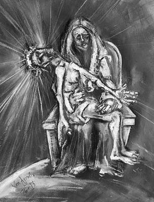 Drawing - Pieta by Kenneth Agnello