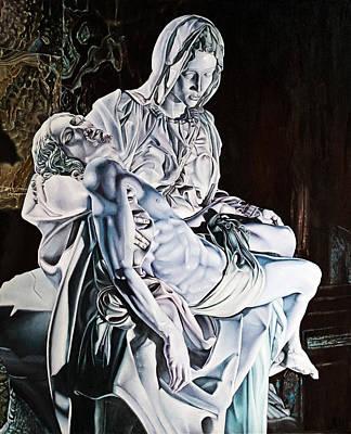 Pieta Statue In Lilac  Original by Michel Angelo Rossi