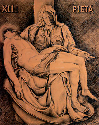 Religious Drawing - Pieta Study by Hanne Lore Koehler