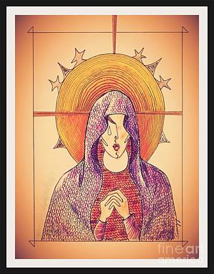 Religious Icon Drawing - Pieta -- Vintage Amber by Jayne Somogy