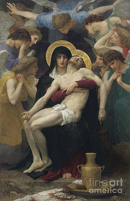 Halos Painting - Pieta by William Adolphe Bouguereau
