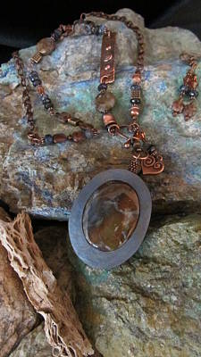 Jewelry - Pietersite/labradorite Set In Gourd Wood #d183 by Barbara Prestridge