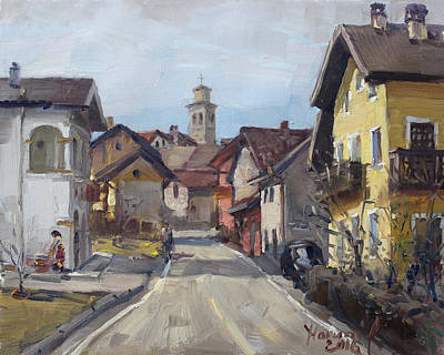 Village Church Painting - Pieve Di Limana by Ylli Haruni