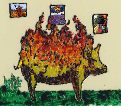 Painting - Pig Ablaze by Phil Strang
