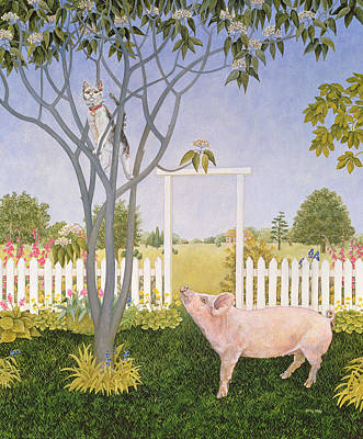Pig Painting - Pig And Cat by Ditz