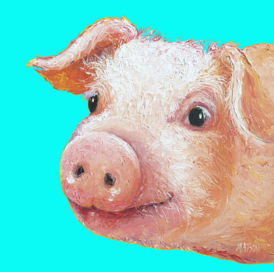 Pig Painting - Pig Art For Kitchen Or Nursery by Jan Matson