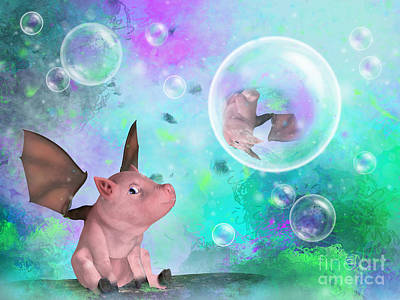Digital Art - Pig In A Bubble by Elle Arden Walby