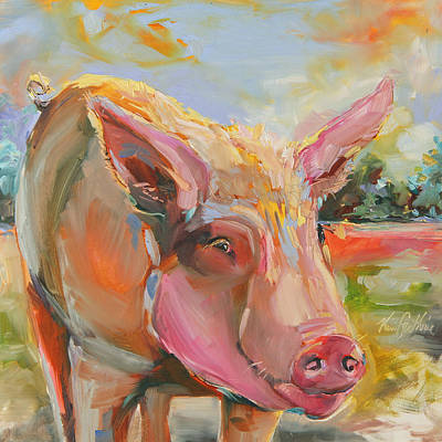 Farm Raised Pigs Painting - Pig Latin by Kim Guthrie