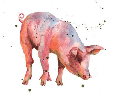 Pig Painting Art Print by Alison Fennell
