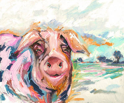 Of A Pig Painting - Pig Painting Called Double Dutch By Kim Guthrie by Kim Guthrie