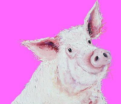 Pink Pigs Painting - Pig Painting On Hot Pink by Jan Matson