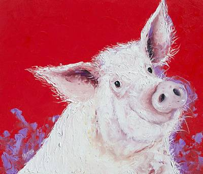 Pink Pigs Painting - Pig Painting On Red Background by Jan Matson