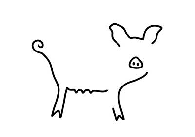 Animals Drawings - Pig Piglet Make A Mess by Lineamentum