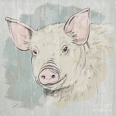 Agriculture Mixed Media - Pig Portrait-farm Animals by Shari Warren