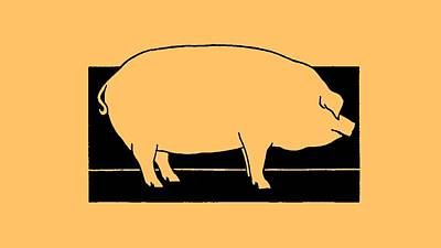 Drawing - Pig - T Shirt Pig by rd Erickson