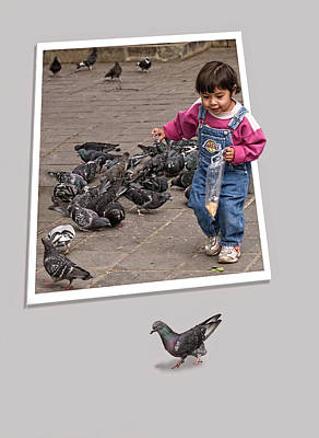 Escapees Photograph - Pigeon Control Problem - Child Feeding Pigeons by Mitch Spence