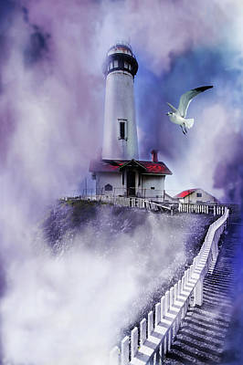 Digital Art - Pigeon Lighthouse With Fog by Jeff Burgess