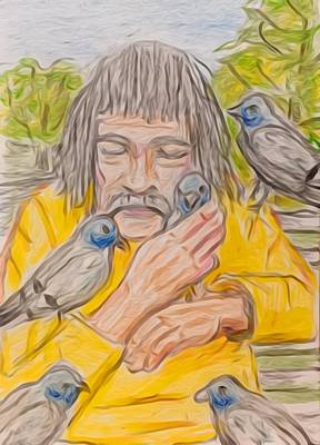 Painting - Pigeon Man by Larry Lamb