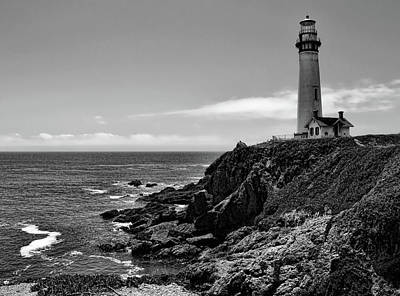 Photograph - Pigeon Point Lighthouse Black And White by Judy Vincent