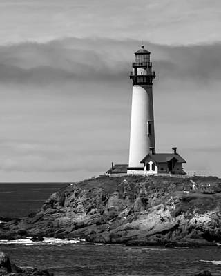 Pigeon Point Lighthouse Bw Art Print by Jan and Burt Williams