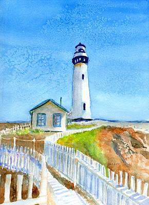 Painting - Pigeon Point Lighthouse California by Carlin Blahnik CarlinArtWatercolor