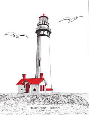 Drawing - Pigeon Point Lighthouse by Frederic Kohli