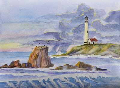 Waterscape Painting - Pigeon Point Lighthouse by Linda Brody