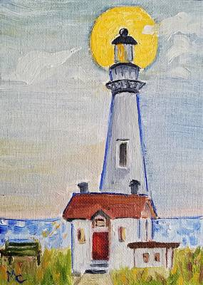 Painting - Pigeon Point Lighthouse  by Mary Capriole