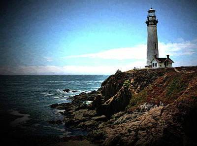 Photograph - Pigeon Point Lighthouse Painting by Judy Vincent