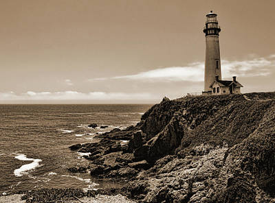 Photograph - Pigeon Point Lighthouse Sepia by Judy Vincent
