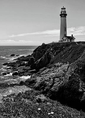 Photograph - Pigeon Point Lighthouse Vertical Black And White by Judy Vincent