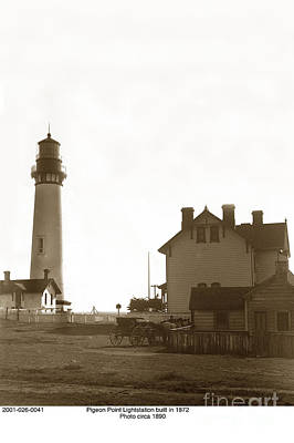 Photograph - Pigeon Point Lighthstation Was Built In 1871  Circa 1890 by California Views Mr Pat Hathaway Archives
