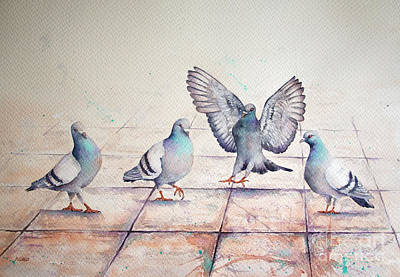 Painting - Pigeon Practice by Rebecca Davis
