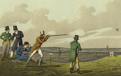 Pigeon Shooting Art Print by Henry Thomas Alken