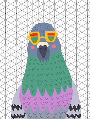 Nyc Digital Art - Pigeon Sunglasses by Nicole Wilson