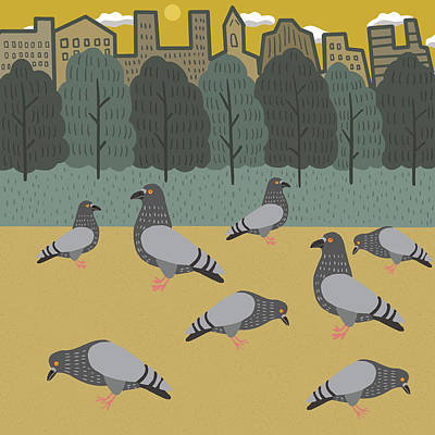 Pigeon Digital Art - Pigeons Day Out by Nicole Wilson