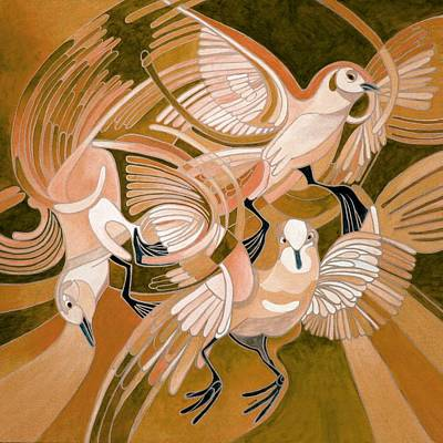 Painting - Pigeons In Sepia by Tracey Harrington-Simpson