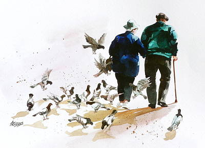 Painting - Pigeons 'n Pals by Art Scholz