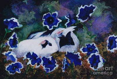 Piggies Painting - Piggies In The Garden by Brenda Thour