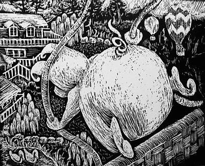 Napa Drawing - Piggy Ballooning by Valera Ainsworth