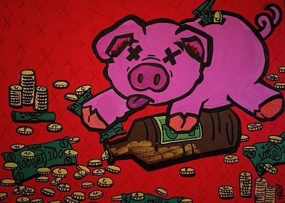 Piggy Bank Overdose Art Print by Katie Hester