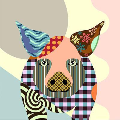 Purebred Digital Art - Piggy by Lanre Studio