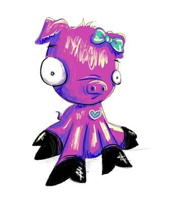 Digital Art - Piggy  by Lizzy Love