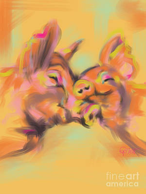 Piggy Love Print by Go Van Kampen