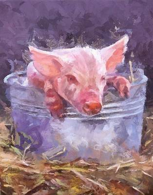 Portrait Painting - Piglet In A Bucket by Peter Kupcik