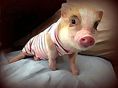Digital Art - Piglet In Pjs by Raven Hannah