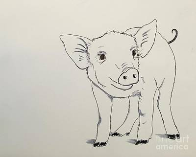 Drawing - Piglet by Kathy Flood
