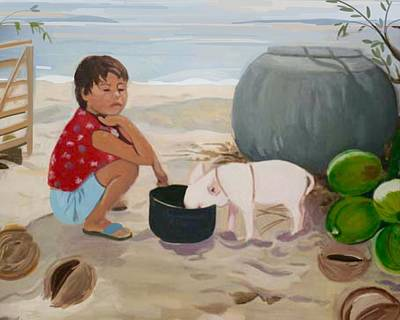 Piglet On The Beach Art Print